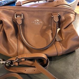 Coach brown leather satchel purse